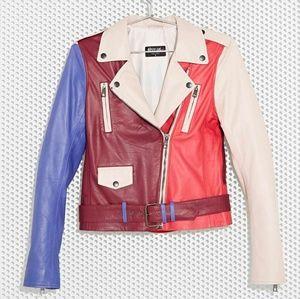 RARE Nasty Gal x MAC Leather Moto Jacket XS